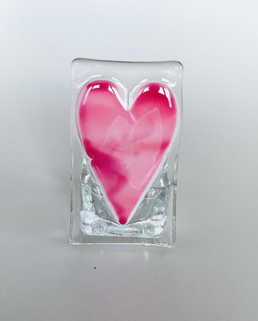 Pink heart tealight holder