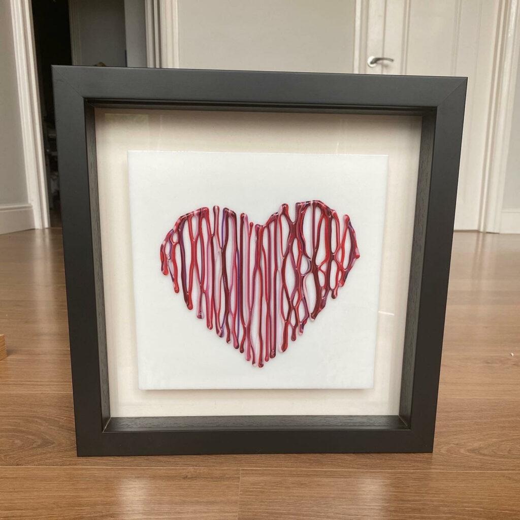 Heart framed wall art