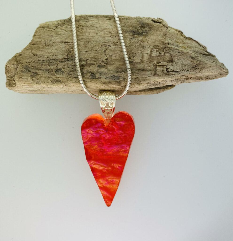 Orange granite heart – pendant