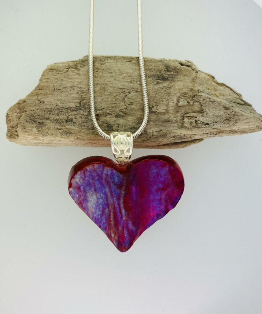 Cherry crush granite heart – pendant