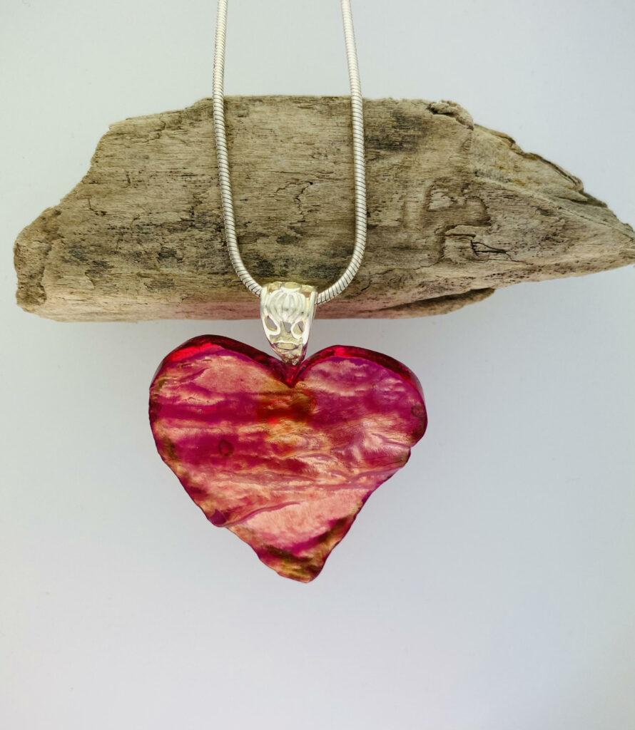 Copper cranberry granite heart – pendant